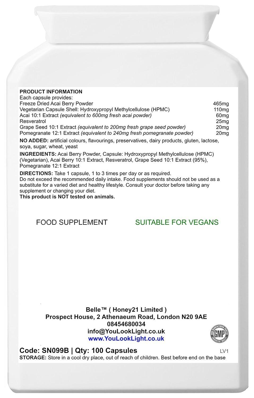 Belle® Acai Berry 1065mg Vega adelgazar cápsulas suplemento de pérdida de peso comprimidos que contienen antioxidantes naturales, resveratrol, ...