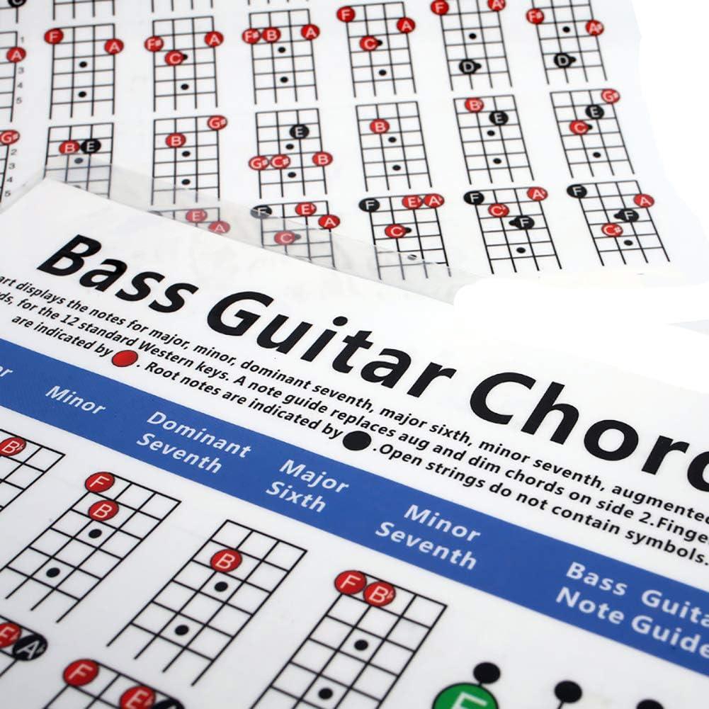 Allsunny Tabla De Acordes Para Bajo 4 Cuerdas Guitarra Eléctrica ...