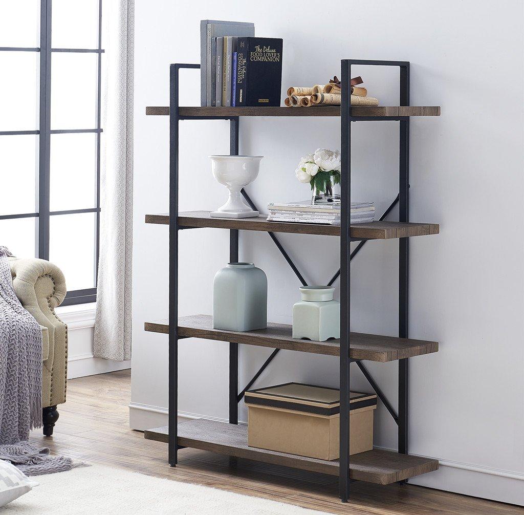 O&K FURNITURE 4-Shelf Vintage Industrial Bookcase, Display Rack Stand Storage Shelving Unit, Gray-Brown by O&K FURNITURE (Image #1)