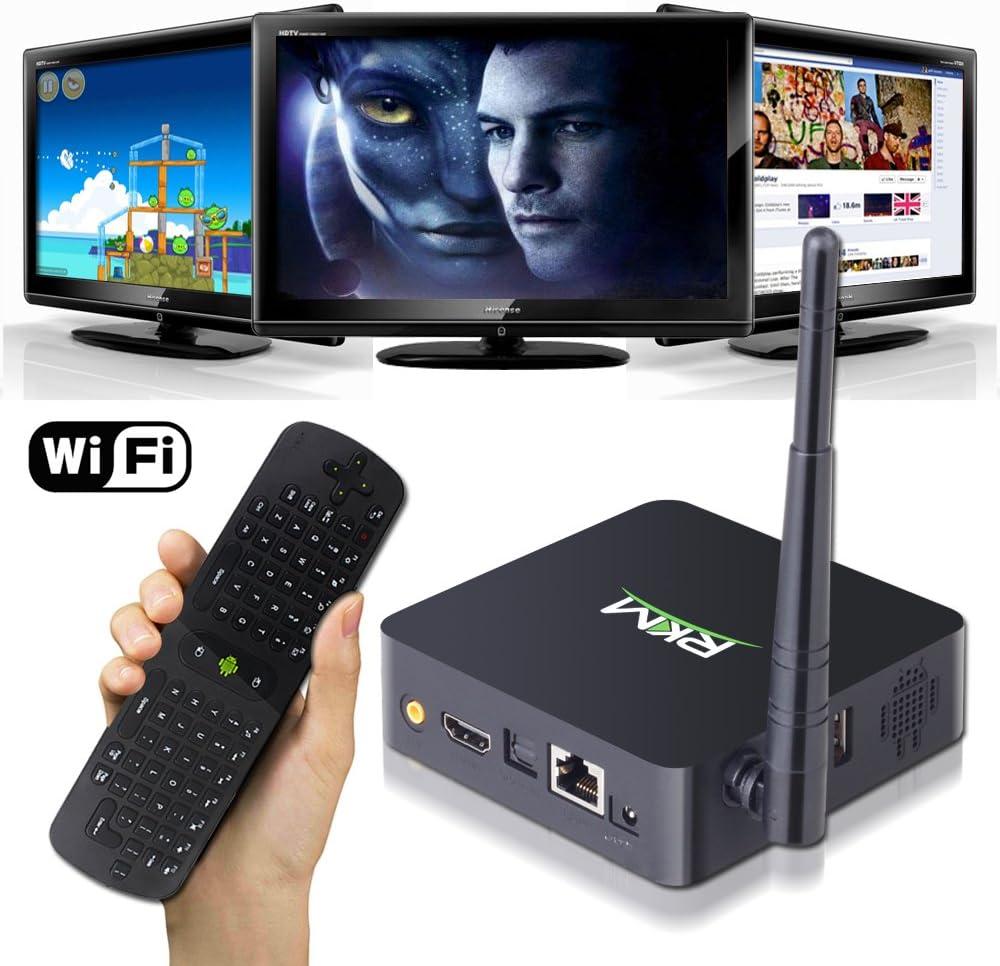 keedox-mini PC Smart TV Box RKM MK902 Full HD 1080p 8 GB Quad Core TV Box HDMI Android 4.2 con webcam 2 G DDR3 RAM WIFI Bluetooth con Measy RC11 ratón inalámbrico