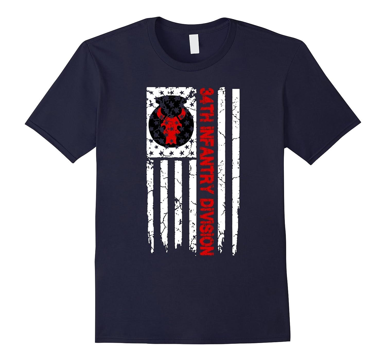 34th Infantry DIvision American Flag Tshirt-T-Shirt