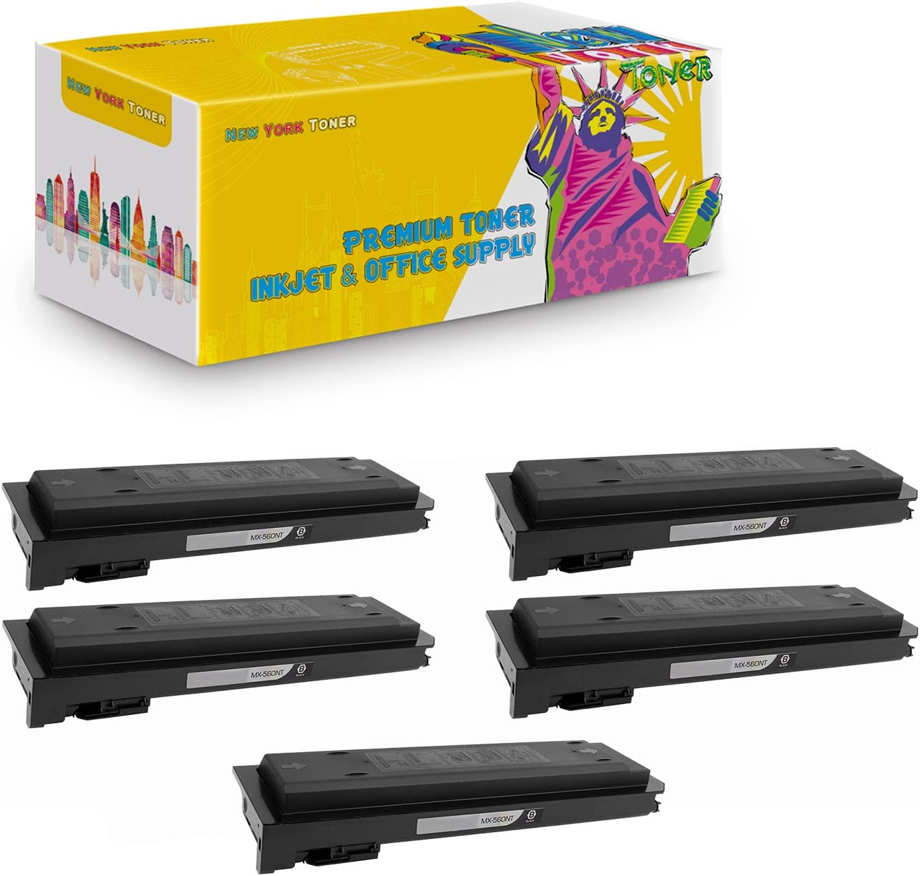564 Black, 2-Pack 465 565 NYT Compatible High Yield Toner Cartridge Replacement for MX-560NT for Sharp MX M364