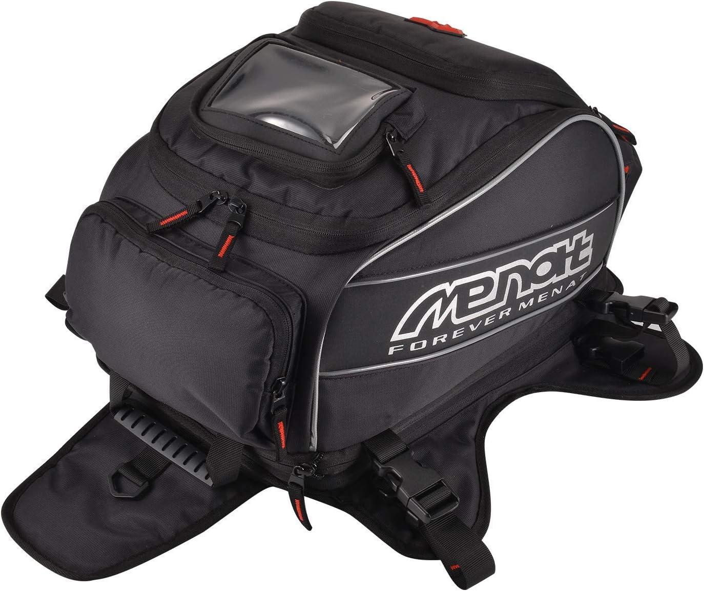 WILDKEN Motorcycle Tank Bag Waterproof Foldable Motorcycle Bag with 2 Windows 23L Removable Base Backpack with Strong Magnet Rain Cover and Straps for Honda Yamaha Suzuki Kawasaki Harley