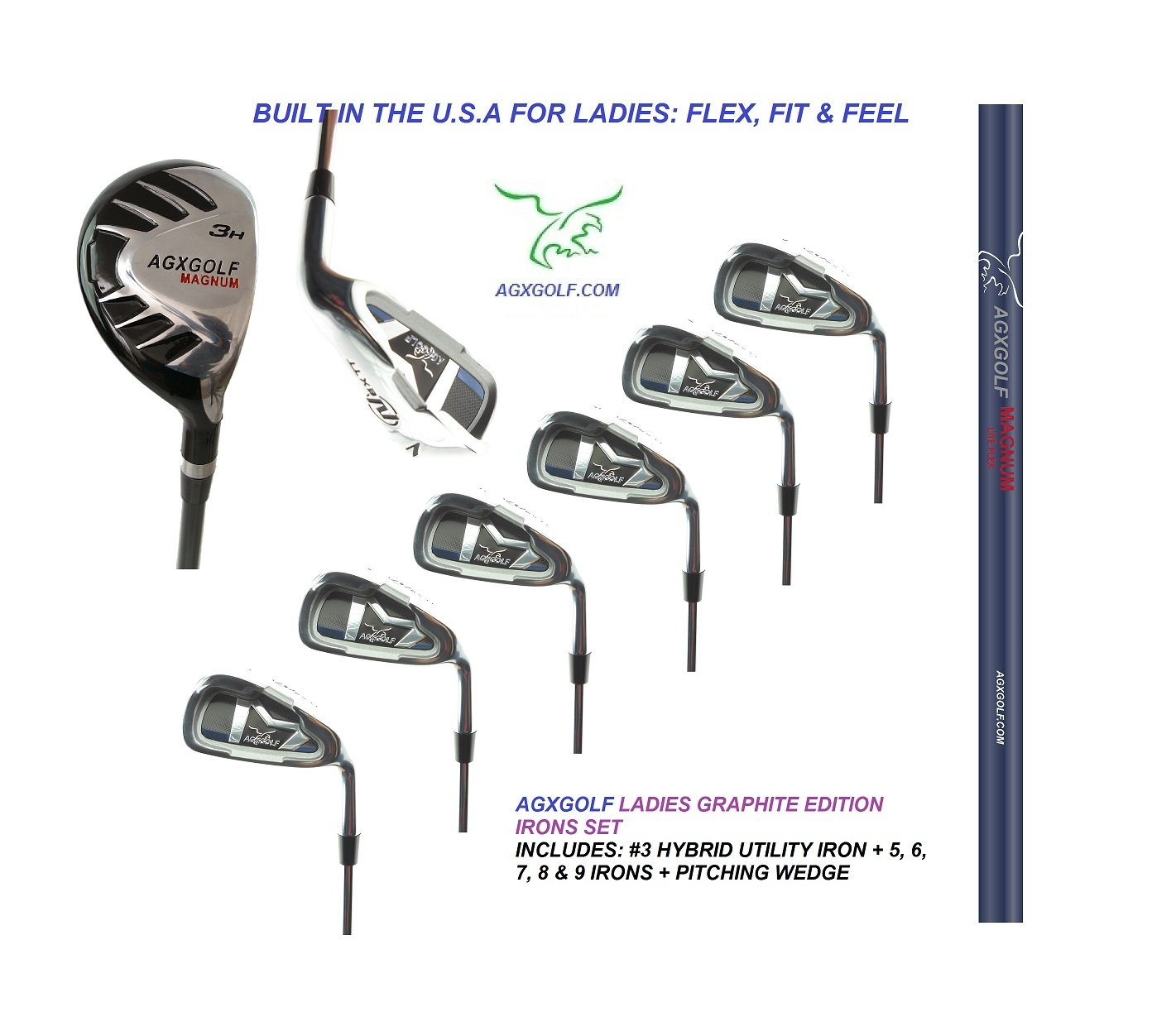 AGXGOLF Ladies, Right-Hand Magnum Graphite Iron Set #3 Hybrid + 5-9 Irons + Pitching Wedge; Petite, Regular & Tall Lengths: Built in The USA ! by AGXGOLF