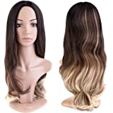 MelodySusie Ombre Brown Curly Wig - Gorgeous Long Loose Wave Layered Synthetic Wig with Free Wig Cap (Dark Brown & Blonde)