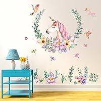 Gemini_mall® Cute Unicorn Wall Sticker Mural Art Decor for Kids Children Bedroom Decorartion