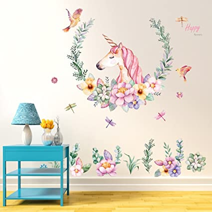 Bluelans Kids Unicorn Theme Peel And Stick Wall Decal Colorful Unicorn Flower Decorative Unisex Sticker For Children Bedroom Nursery Playroom Mural
