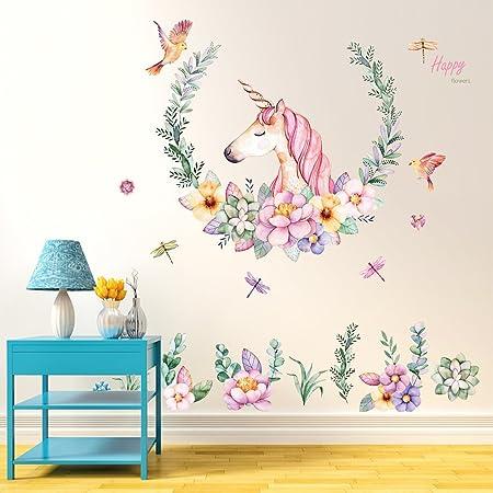 Gemini Mall Cute Unicorn Wall Sticker Mural Art Decor For Kids