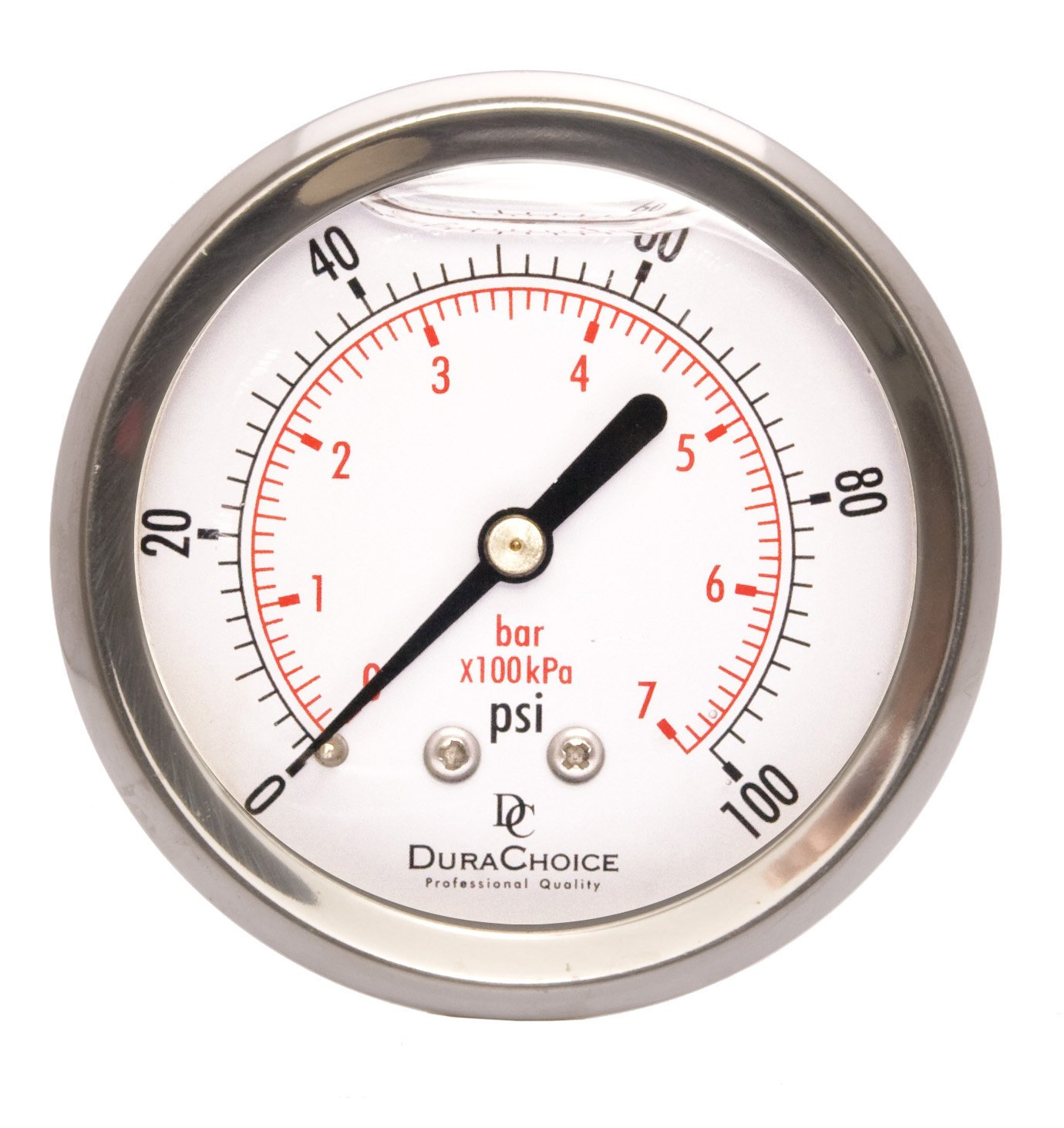 "Amazon 2 1 2"" Liquid Filled Pressure Gauges Stainless Steel Case Brass 1 4"" NPT Center Back Mount Connection 0 100PSI Automotive"