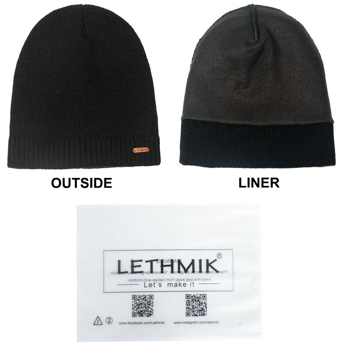 7a0bacd13e2 LETHMIK Fleece Lined Beanie Hat Mens Winter Solid Color Warm Knit Ski Skull  Cap Black  Amazon.in  Clothing   Accessories