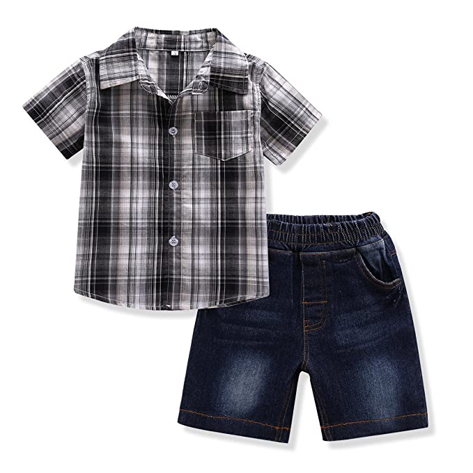 466650362 FERENYI Toddler Boy's Clothes Short Sleeved Plaid Woven Shirt With Denim  Shorts Sets (2 years