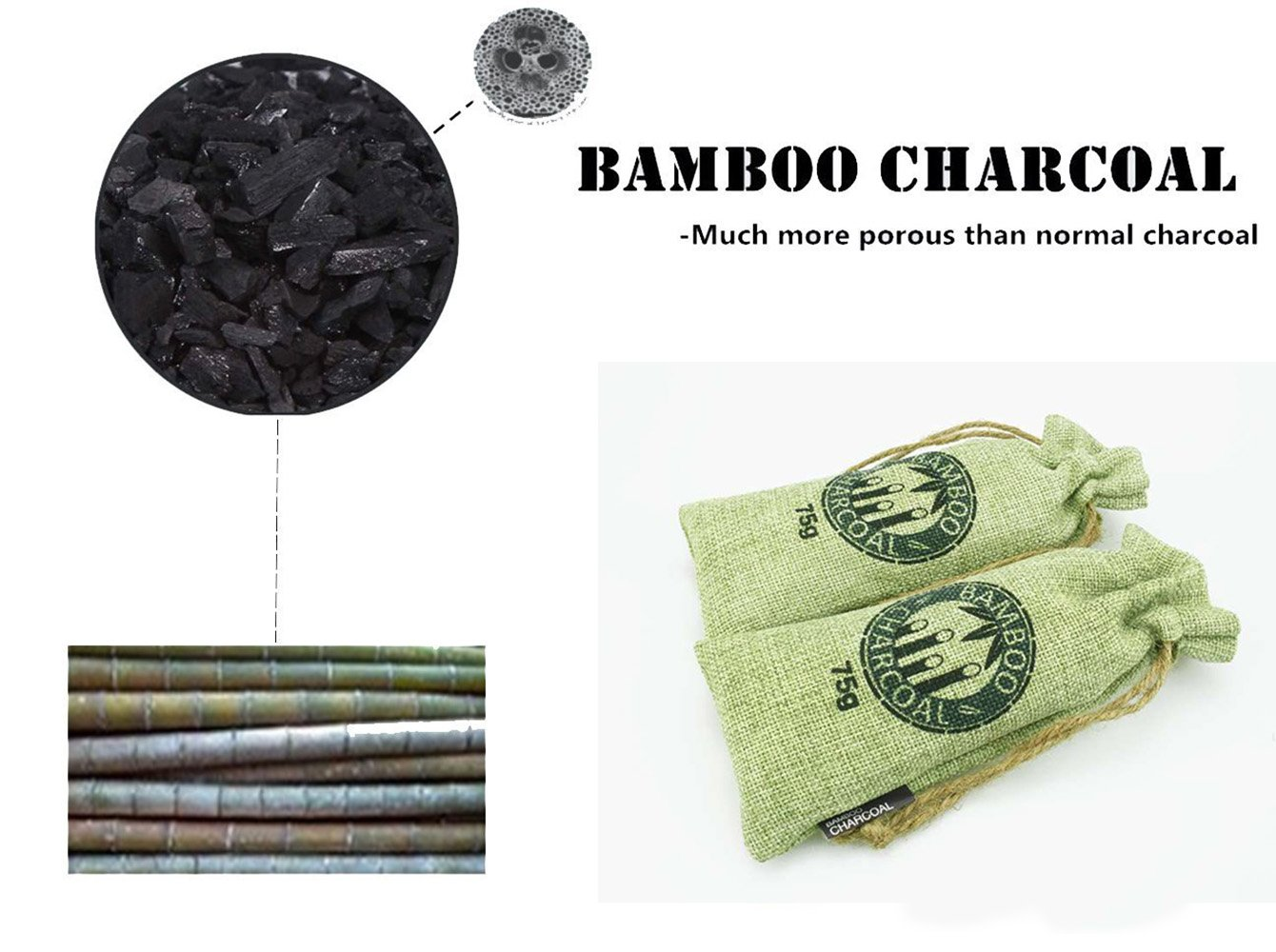 Bamboo Charcoal Bag, NewList Natural Activated Eco-friendly Air Purifying Bag Room PurifierOdor Remove for Closets, Cars, Rooms, Pet Areas, Gym Bag, Boxing Gloves, Bathroom, 2Pack 2 x 75g