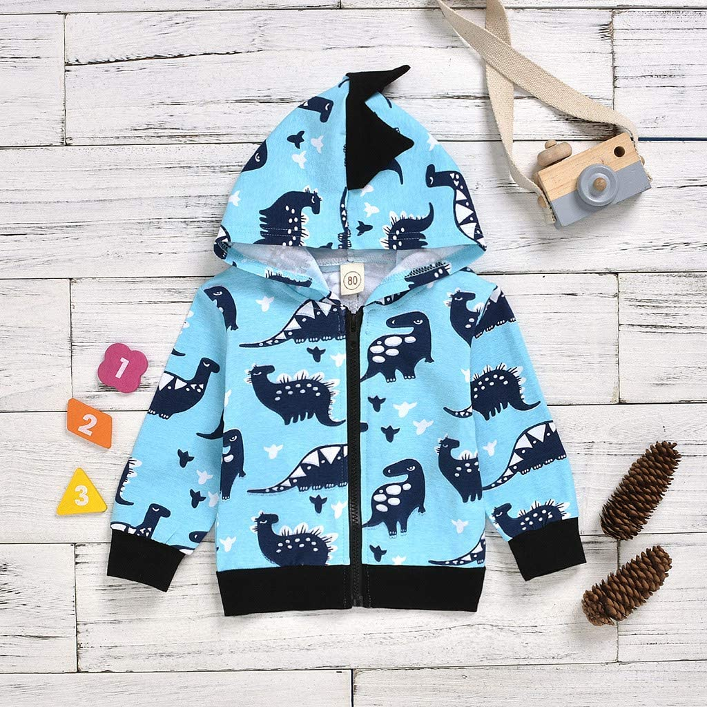 Toddler Baby Boys Girls Cartoon Dinosaur Hooded Zipper Coat Pollyhb Boy Girl Coat