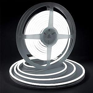 6000K Cool White Led Rope Light, Lamomo Flexible Outdoor Neon Light, 12V 16.4 Ft/5m UL Listd 2835 600 LEDs DC Silicone Tape Light for Indoors/Outdoors Decor/DIY