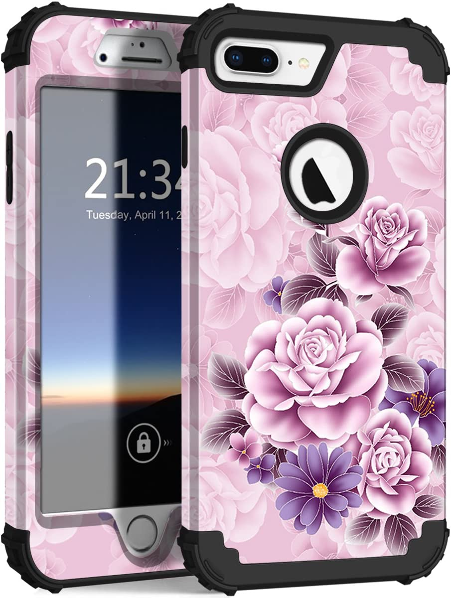 Hocase for iPhone 8 Plus Case, iPhone 7 Plus Case, Heavy Duty Shockproof Protection Hard Plastic+Silicone Rubber Hybrid Protective Case for iPhone 7 Plus/iPhone 8 Plus - Light Pink/Purple Flowers