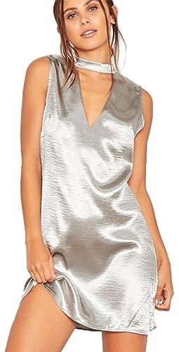Moda Senza Maniche Collo Alto collo alto e profonda scollatura Mini Corte Corta Shift Boxy dritto Dress Vestito Abito Brillante metallizzato argento