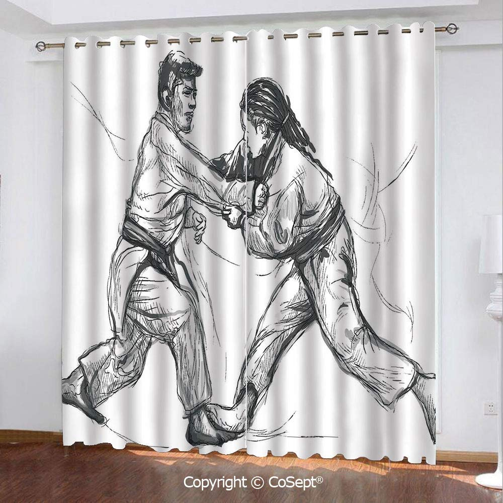 Blackout Curtains,Karate Eastern Martial Arts Fighting Men Combat Traditional Hand Drawn Print,for Bedroom and Living Room,51.96x62.99 Inch Length,2 Drape Panels,Light Grey White by CoSept