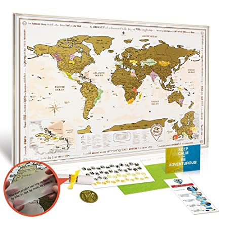 NEW Framed World Map with Scratch off, Gold Edition! White Frame ...