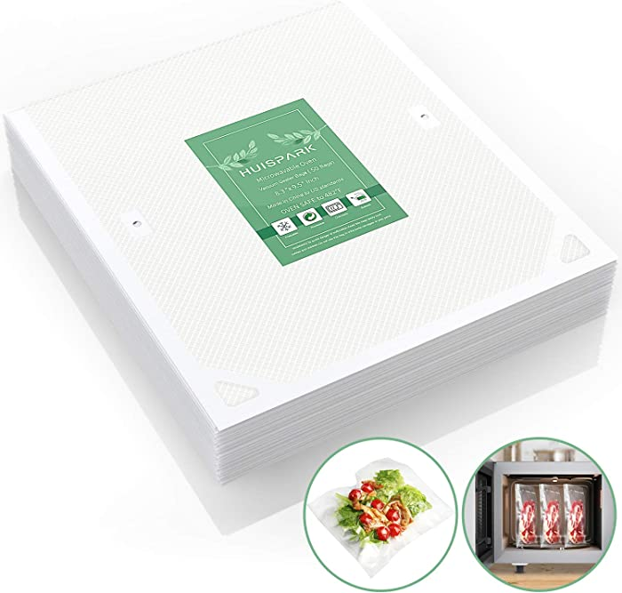 8.3×9.5 Inch Microwavable Oven Cooking Vacuum Sealer Bags,Withstand Temperature UP 482°F,Freezable Heatable Microwave Cooking Available Steamer Bag(50Pcs)