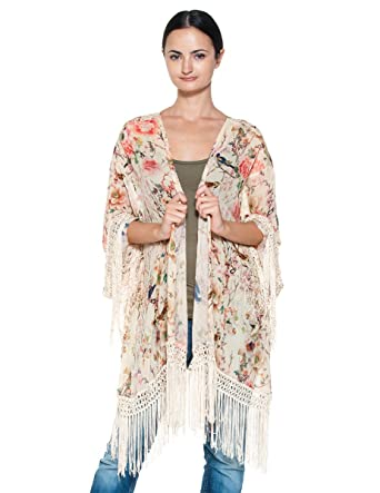 1712ec7fe89 Women s Chiffon Asian Floral Bird Leaf Print Fringe Kimono Wrap Jacket  Blouse (Small)