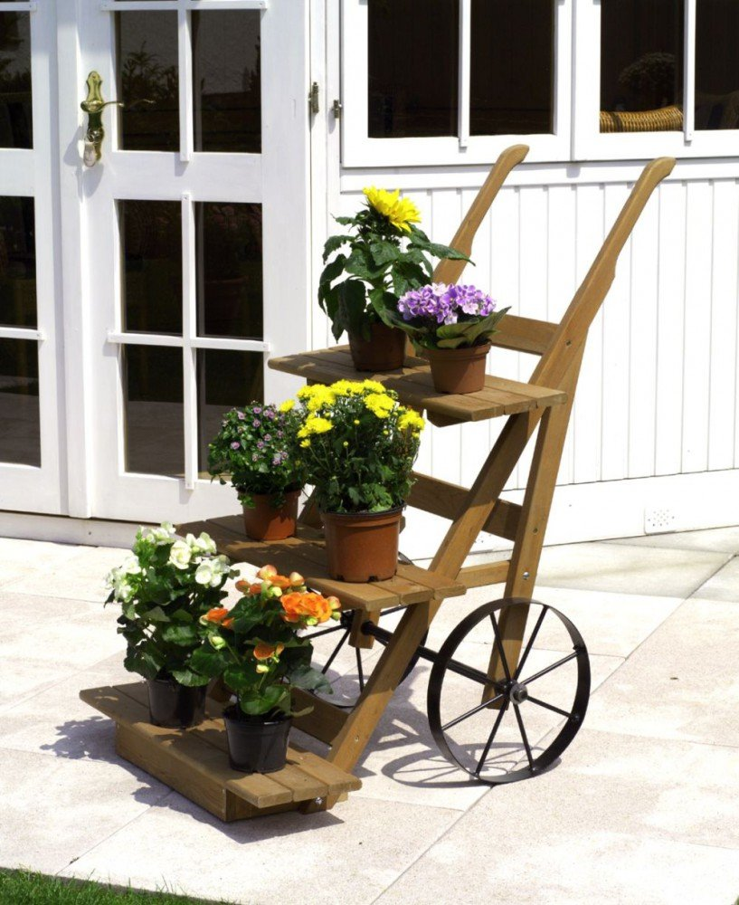 Blumenkarre große Räder imprägniertes Kiefernholz Gartendeko