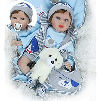Pinky 22 inch 55cm Lifelike Reborn Baby Boy Doll Realistic Looking Newborn Doll Toy Gift: Toys & Games