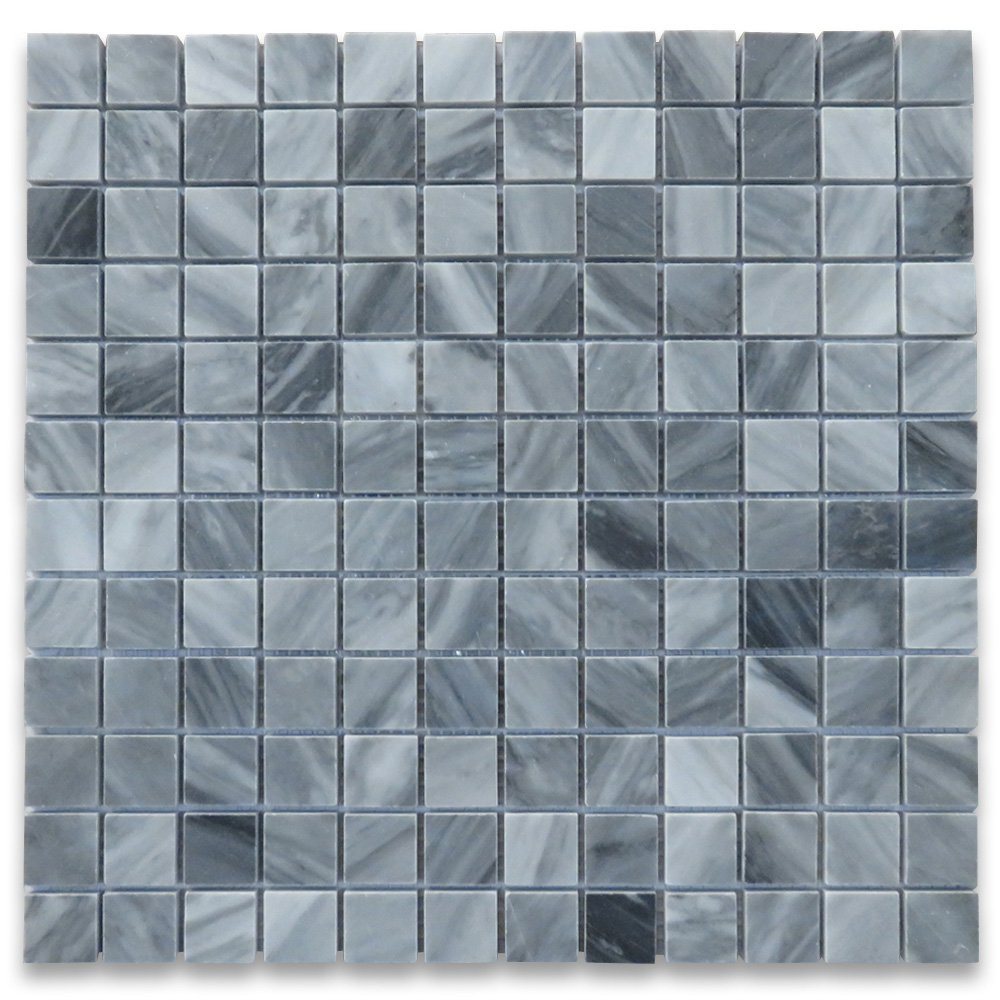 Bardiglio Gray Italian Dark Grey Marble Square Mosaic Tile 1 x 1 Polished