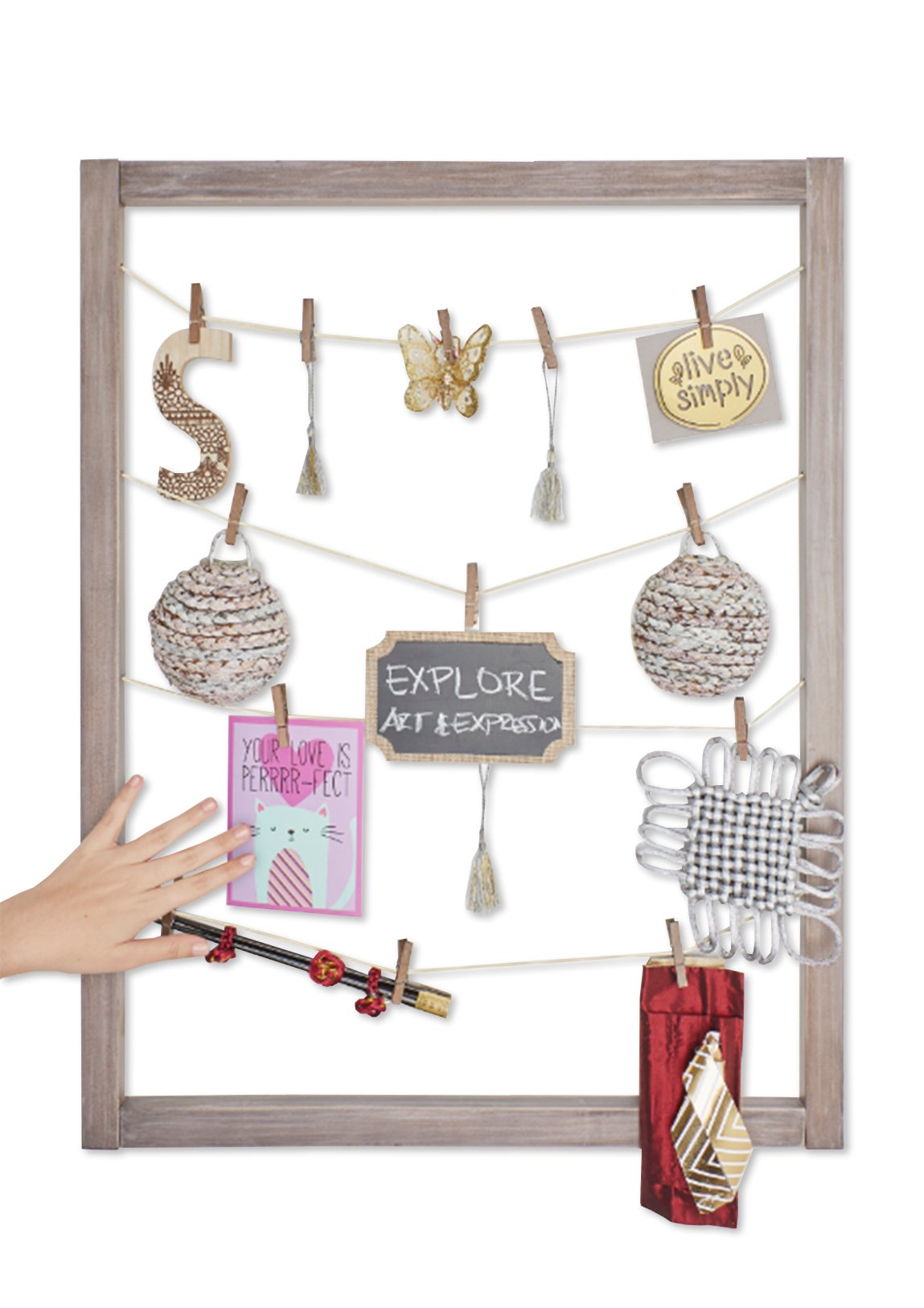 Reimagine Hanging Photo Display- Wood Wall Picture Frame Collage Board for Hanging Prints, Instax, Polaroid, Holiday Cards, Artwork- Display 2 Ways- Adjustable String, 40 Clothespin Clips- Rustic Grey by Zen Decor