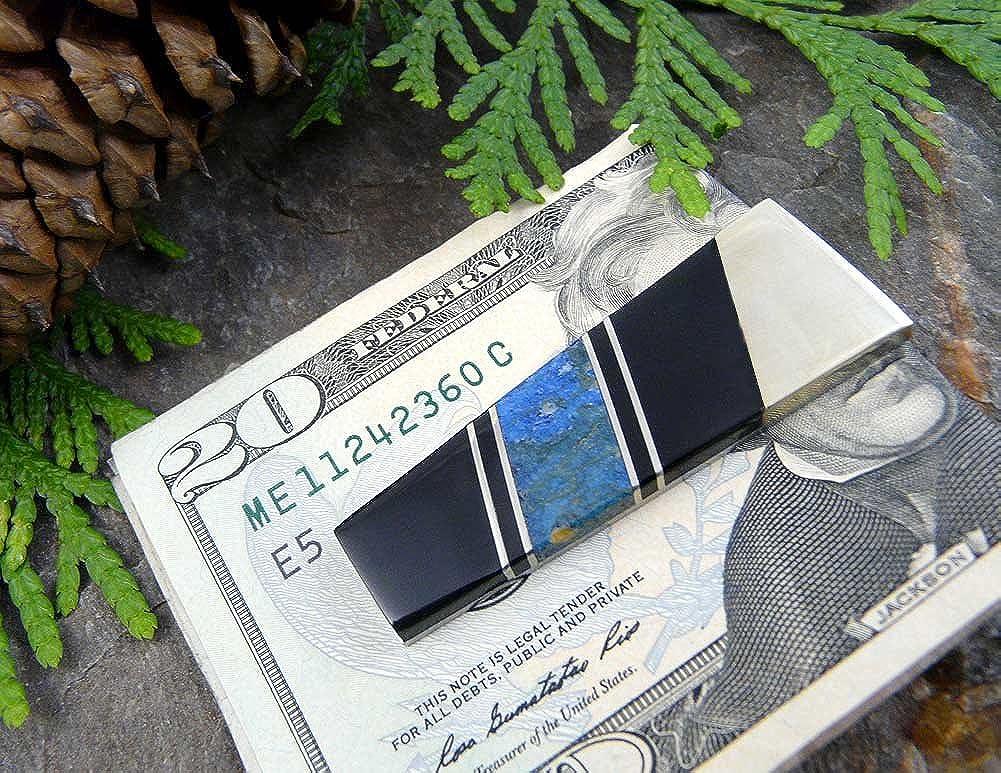 Blue Lapis Lazuli and Black Jet Gemstone Steel Money Clip JW0789