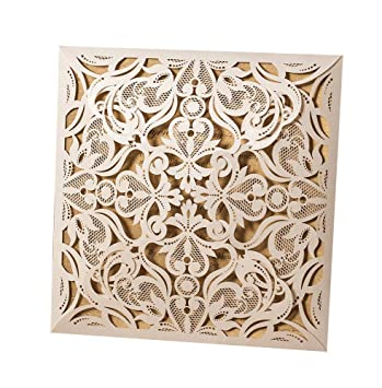 50x wishmade ivory square laser cut invitation kit card stock for wedding bridal shower engagement birthday