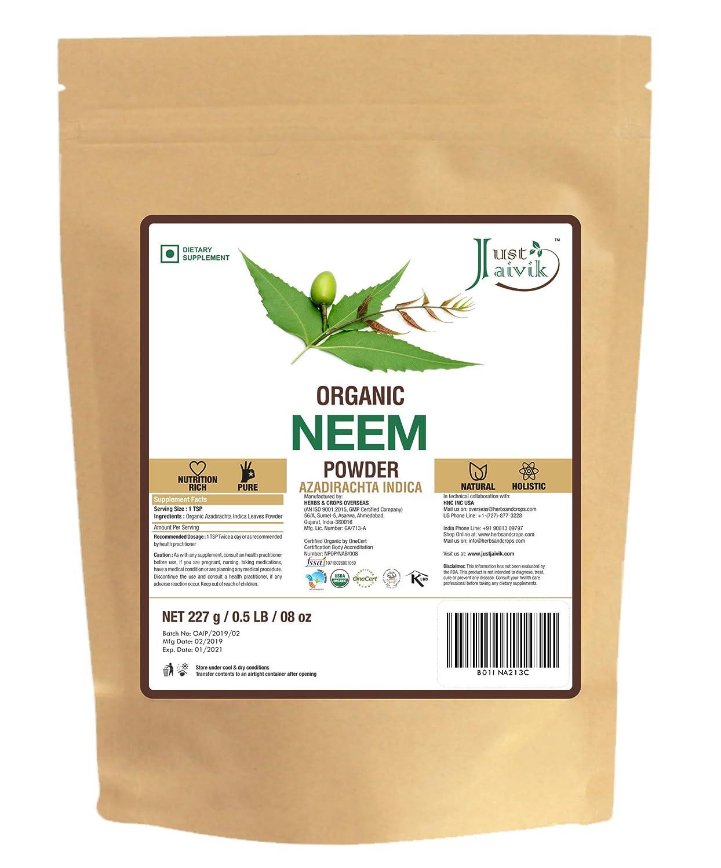 Just Jaivik 100% Organic Neem Leaves Powder - USDA Certified Organic, 227  gms / 1/2 LB Pound / 08
