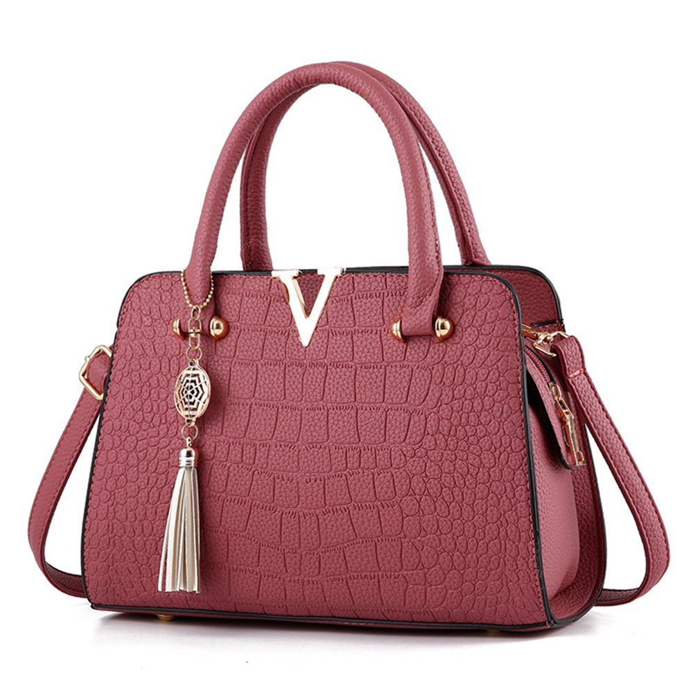 Crocodile Leather Women Tote Bag V Letters Handbags Tassel Shoulder Crossbody Bags Fringed Ladies Messenger Bags Rubber Red One Size