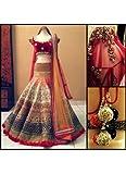 Kabeer Creation Women's Velvet Embroidered Lehenga Choli_Red_Freesize