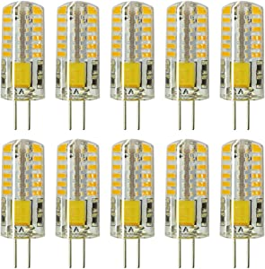 Rayhoo 10pcs G4 LED Bulb Bi-Pin Base Light Bulb Lamps 3W AC DC 12V Equivalent to 20W T3Halogen Track Bulb Replacement LED Bulbs(Warm White 2800-3200K)