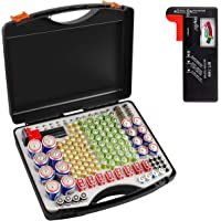 Battery Organizer Storage Case with Battery Tester, 166 Batteries Holder Container Box for AA AAA AAAA 9V C D Lithium 3V…