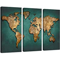 Ardemy Canvas Art Prints Retro Abstract Beige World Map 3 Panels/Set Wall Paintings Artwork Design Framed Ready to Hang for Living Room Bedroom Kitchen Home and Office Decor