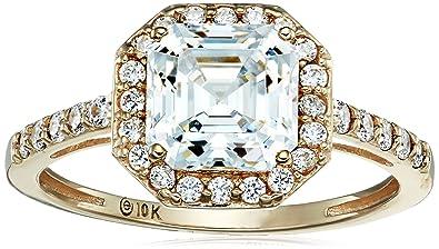 1e5d90d293e253 Amazon.com: 10k Yellow Gold Asscher-Cut Halo Ring made with Swarovski  Zirconia: Jewelry