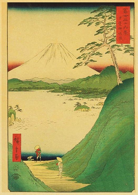 QAZZ Pintura Mural Estilo Antiguo Japonés Cartel Kraft ...