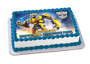 EdibleInkArt Bumblebee 2019 Transformers Edible Cake Topper Personalized Birthday 1 4 Sheet Decoration Custom