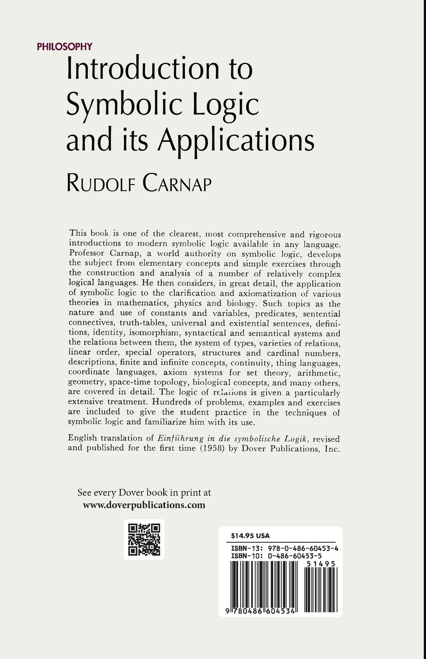 Introduction To Symbolic Logic And Its Applications Rudolf Carnap
