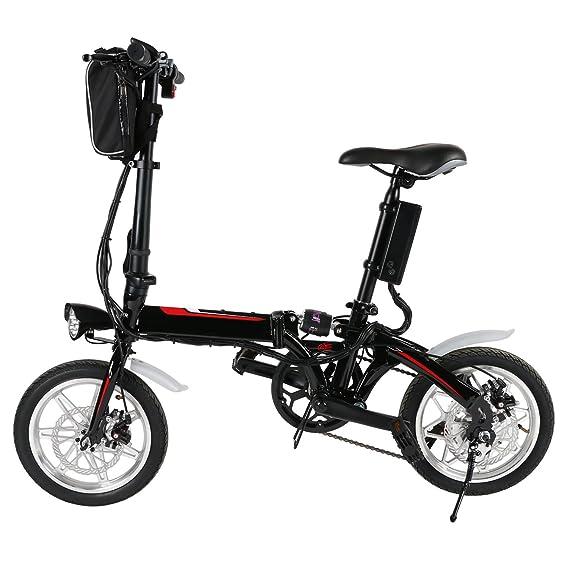 BUSYALL Bicicleta Eléctrica Plegable 500 W 35Km/h Ruedas de 14 Pulgadas Bicicleta de Montaña para Mujeres con Batería 36 V / 8Ah Carga 200KG ,Enchufe de la ...