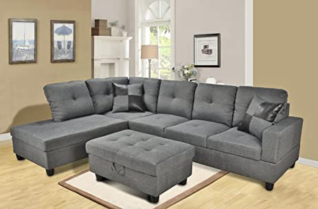 Beverly Furniture Gray 3-Piece Microfiber Sectional Sofa Set with Free Storage Ottoman2 : 3 piece microfiber sectional - Sectionals, Sofas & Couches