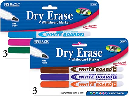 Bazic 3 Color White Board Markers Office School Chisel Tip Dry Erase with Eraser