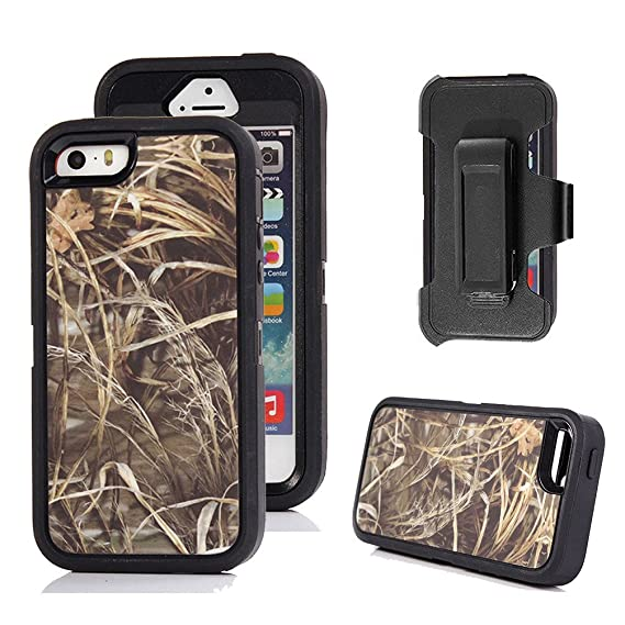 quality design 3f531 9f39f iPhone 5s Case, Harsel Defender Series Heavy Duty Realtree Camo Impact  Tough Rugged Armor Hybrid Military w' Belt Clip Built-in Screen Protector  Case ...
