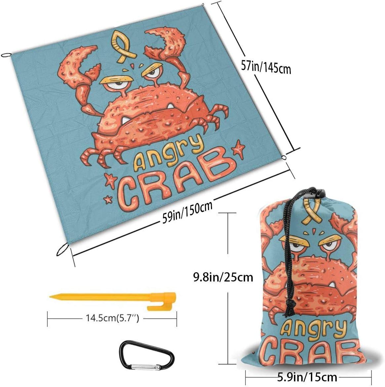 Txc9ds Gramophone Music Picnic Outdoor Mat Park Beach Mat Campeggio Portatile Impermeabile Mat Cartone animato Angry Crab