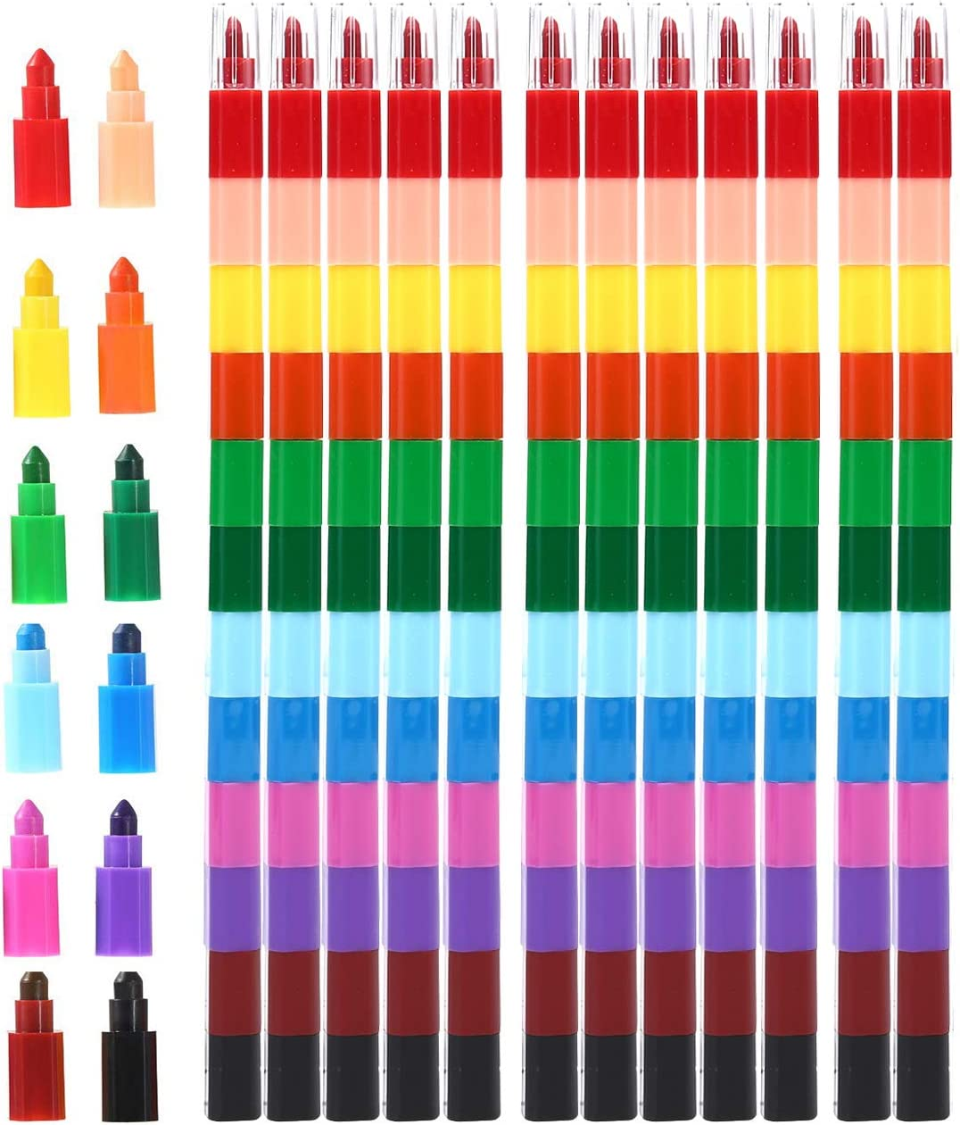 MeiMeiDa 12 Pieces Stacking Crayons for Kids Party Favors Colorful Stackable Buildable Crayon Set - Fun Rainbow Crayons for Art Paint Party, Goodie Bag Filler, Prizes