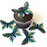 "15 RAINBOW MONARCHS Edible Wafer Paper Butterflies© 2"" Large Size - Cake and Cupcake Toppers, Edible Image Butterfly Cookie Decorations for Weddings Birthdays Anniversary"