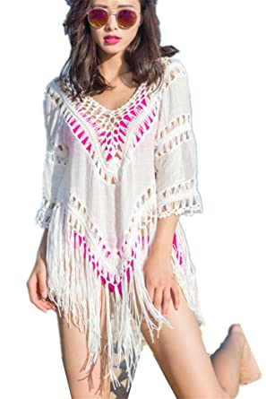 452db7eed77df Yomie Women s Handmade Crochet Halter Swimsuit Cover Ups with Tassels Short  Knitted Beach Dresses  Amazon.co.uk  Clothing