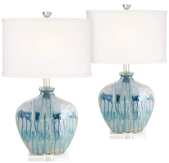Mia Coastal Table Lamps Set of 2 Ceramic Blue Drip Off White Oval Shade for Living Room Family Bedroom Office - Possini Euro Design