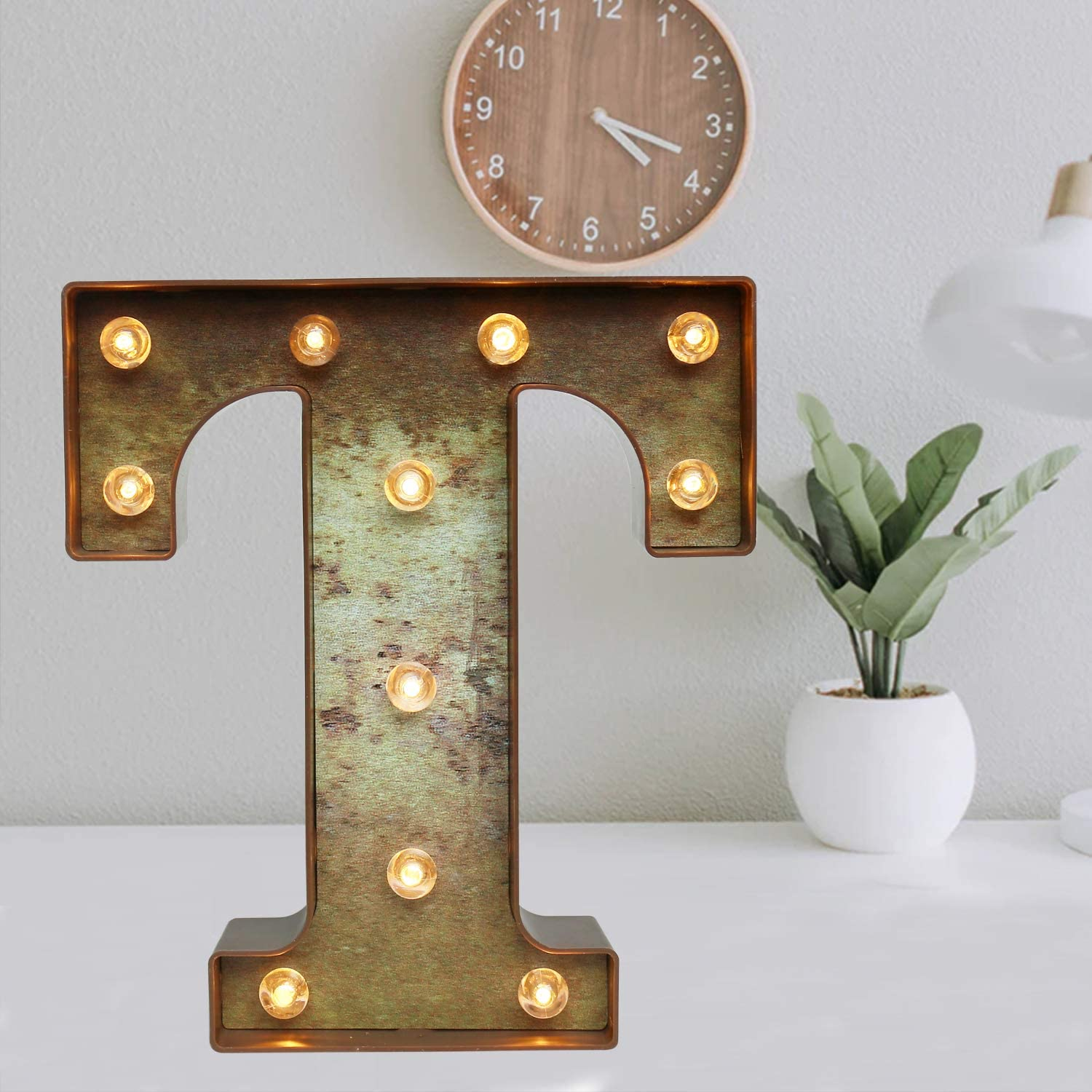 Glzifom Light Up LED Vintage Industrial Letters with Lights – Lighted Iron Rust Marquee Bar Sign Lamp – Night Light for Christmas Pub, Bistro, Party, Wall Decor - T